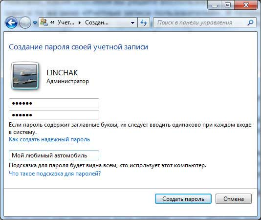 Окно создание своего пароля. Windows 7.