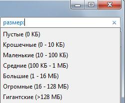 Поиск по размеру файла в Windows 7