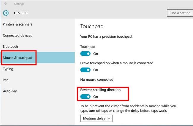 Изменение инверсии тачпада Windows 10 на ноутбуке